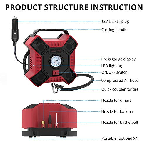 Portable Air Compressor Pump with Analog Pressure Gauge and LED Light for Car Motorcycle Red INCLAKE 12V DC Tire Inflator and Other Inflatables Basketball Bicycle