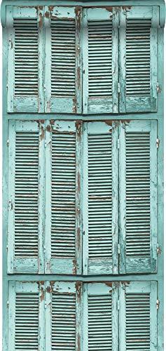 Tapete verwitterte, französische, vintage Fensterläden Grautürkis - 138884 - von ESTAhome.nl