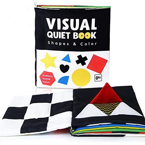 libro sensorial,libro tela,Educativo Temprano,Libro para bebés Libro visual silencioso Juguetes educativos para niños Montessori infantil Libros de tela 3d Espejo Blanco y negro Alto contraste