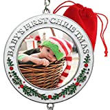 2021 Baby's First Christmas Photo Ornament - White Enameled Xmas Decoration with Holly Berries and Red Rhinestone Accents - Includes a Snowman Hook and Dated Hanging Charm - Gift/Storage Bag Included