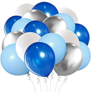 Blue Silver White Latex Balloons, 50pcs 12 inch Royal Blue and Silver Metallic Balloons for Birthday Wedding Party Decoration