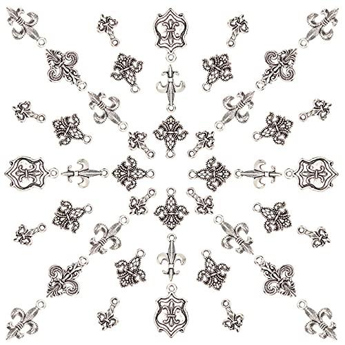 SUNNYCLUE 1 caja de 96 colgantes de flor de lis, estilo tibetano, aleación de zinc, flor de lirios, parte trasera plana, vintage, para pulseras, joyería, manualidades, plata envejecida