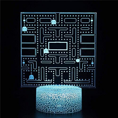 Luz nocturna de ilusión 3D | ilusión óptica | Pac-Man 16 colores con lámpara 3D remota para niños como regalo perfecto para niños y niñas