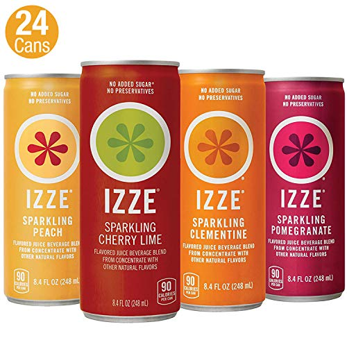 IZZE Sparkling Juice, 4 Flavor Sparkling Sunset Variety Pack, 8.4 Ounce, 24 Count
