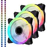 EZDIY-FAB 3-Pack 120mm Ventilador RGB silencioso direccionable PWM con Tiras de Leds Sincronización de Placa Base, Ventiladores Ajustables de Colores Controlador