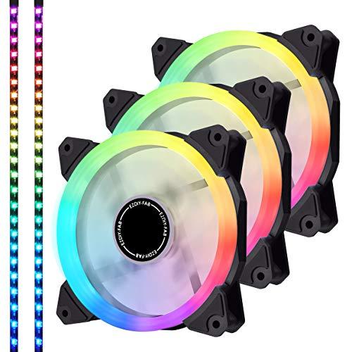 EZDIY-FAB Ventola LED RGB Indirizzabile PWM da 120mm, con Strisce LED, Sincronizzazione Scheda Madre,Ventole Colorate Regolabili per Case con Controller 3 Pack