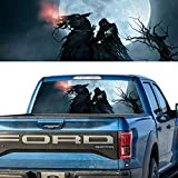Mesport GRIM REAPER Cemetery Death Trees Rear Window Graphic Perforated Vinyl Decal Tint Print Sticker Truck SUV 18''x54'' (Death Horse)
