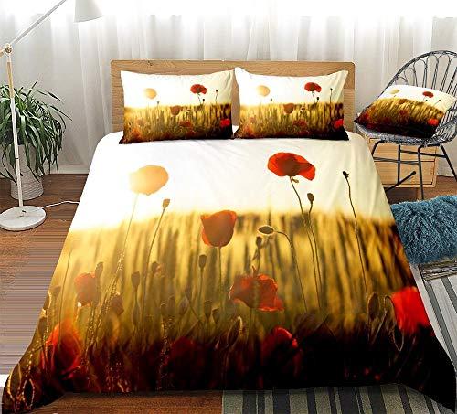 Prinbag Juego de Funda nórdica con Flores de tulipán Juego de Cama Floral Juego de Cama con Flores Rojas Colcha de Sol Día de San Valentín Textiles para el hogar 220x240cm