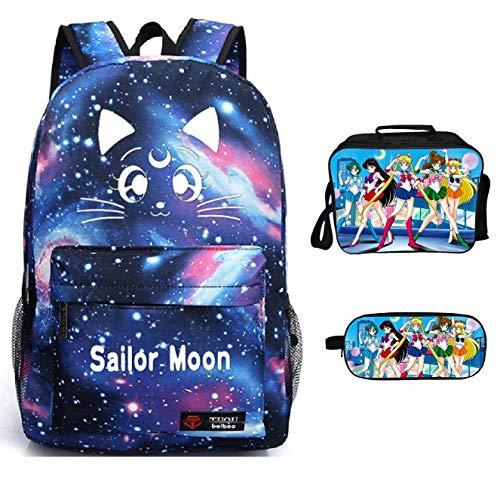 YOYOSHome 3-in-1 Anime Sailor Moon Rucksack Büchertasche Tagesrucksack Lunchbox Federmäppchen Schultasche, Stil D 1 (Blau) - yyyo3