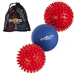 Maximo Fitness massage balls - 3-pack - Including 2 massage balls with nubs and 1 lacrosse ball for a deep muscle massage - Perfect for back, legs, feet & hands.