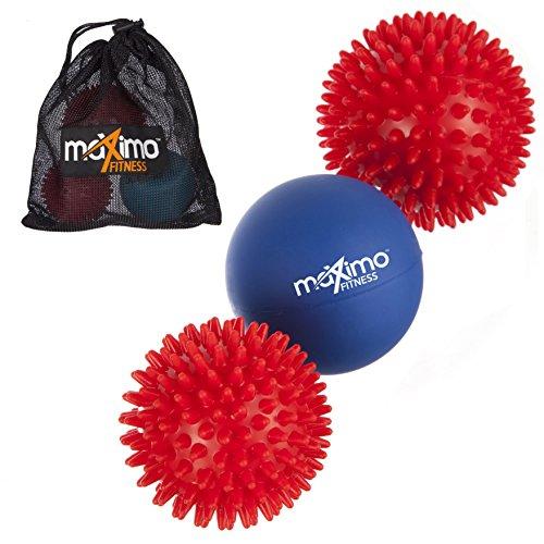 Maximo Fitness - Massage Ball Set - 2 Spiky Balls + 1 Lacrosse Ball