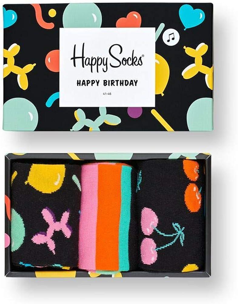 Happy Socks Happy Birthday Singing Gift Box (3 pairs) US 10-13 EUR 41-46