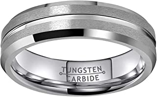 Wow Jewelers 6mm 8mm Black/Silver/Gunmetal Tungsten Carbide Rings for Men Women Wedding Bands Matte Finish Grooved Center ...