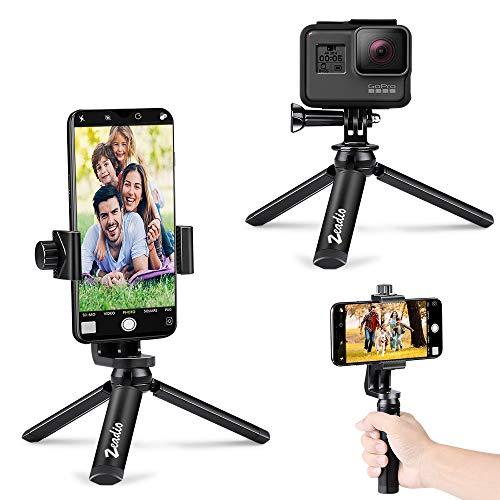 zeadio Trípode de Metal para Smartphone con Bluetooth, cámara de acción, trípode portátil, Soporte de sobremesa para GoPro y Todos los teléfonos