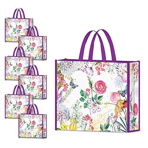 NymphFable 6 Pcs Bolsa Compra Reutilizables Ecológicas Púrpura Flores Bolsas para Comestibles Plegables Grande