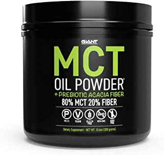 MCT Oil Powder & Prebiotic Acacia Fiber from Coconuts (Medium Chain Triglycerides) | Clean Keto Friendly Energy, Non GMO | Unflavored 30 Servings