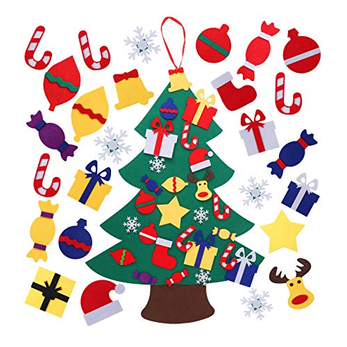 Herefun Albero di Natale in Feltro, Albero in Feltro da parete con 26pcs Ornamenti DIY Staccabili Alberi di Natale, Albero in Feltro da decorare per Bambini, Regali di Natale per Bambini