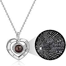 iAmotus Collar Mujer Te Amo 100 Idiomas Collar Plata de Ley 925 Amor Corazón Collar Día de San Valentín Navidad Día de la Madre Regalo