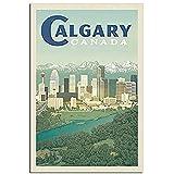 zachking Vintage Reise Poster Kanada Calgary Skyline