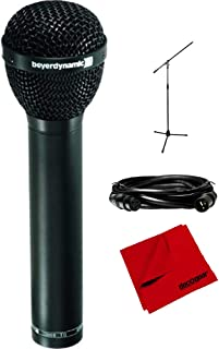 BeyerDynamic M88 TG Dynamic Hypercardioid Polar Pattern Microphone for Vocals and Kick Drum (M88TG) with Professional Tripod Microphone Stand with Boom Arm, XLR 10' 16AWG Cable & Cleaning Cloth