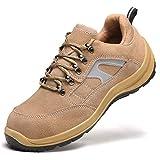 Meng Zapatos de Seguridad para Hombre Transpirable Ligeras con Puntera de Acero Zapatillas de Seguridad Trabajo, Calzado de Industrial y Deportiva (Color : Yellow, Size : 44)