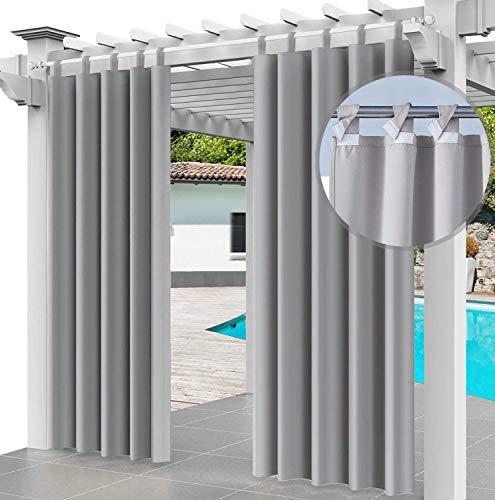 Cortina para Exteriores Impermeable 220 x 155 cm, para Evitar el Agua, Resistente al Viento, para Patio, Porche Frontal, pérgola, casa de Playa, (2 Pieza) Gris [129]