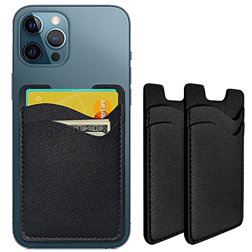 Phone Card Holder, Leather Phone Wallet Stick On, Stretchy Card Holder for Back of Phone Credit Card Holder for Phone Case Compatible with Most of Cell Phone (iPhone, Samsung) - 2Pack Black