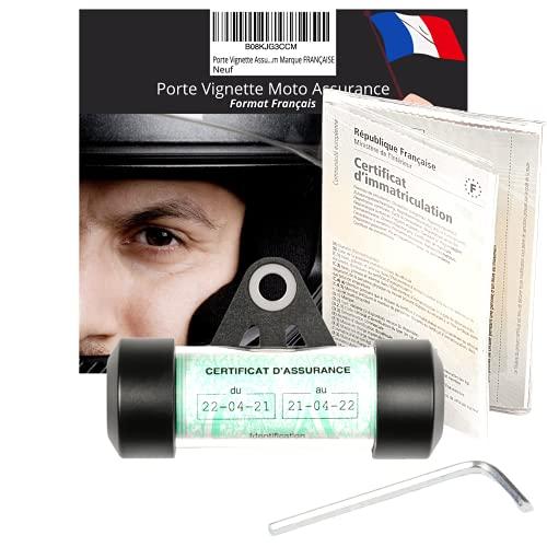 Porte Vignette Assurance Moto Porte Assurance Moto Accessoire Moto Scooter Mobylette Quad - Support Vignette Moto Assurance - Tube Etanche Rond Noir Mat en Aluminium ✯Marque FRANÇAISE✯ (+1POCHETTE)