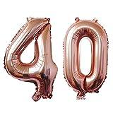 ZEEREE 40 años Globos numéricos, Fiesta de cumpleaños de cumpleaños con Globos de 40 Pulgadas (Oro Rosa)