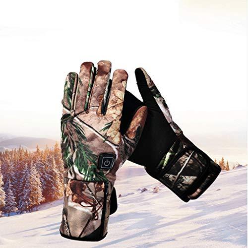 Los guantes calefactables, Hombres Mejorada 7.4 Guantes 2200mAh batería recargable calefacción para impermeables, guantes la mano Calentador Senderismo Esquí,se calienta hasta 3-6 H ,Camouflage-XS