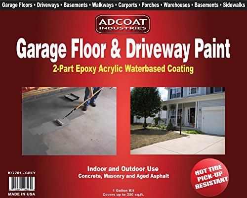 Garage Floor & Driveway Paint - 2-Part Acrylic Epoxy - Interior Exterior - 1 Gallon Kit - Grey