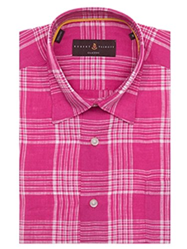Robert Talbott Pink and White Plaid Anderson II Classic Fit Sport Shirt M