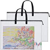Large Posters Art Portfolio Bag Poster Storage Bag Board Holder with Handle and Zipper Organizer Transparent Bag for Posters, Poster Board, Painting, Bulletin Boards, 28 x 20 Inch, 2 PCS