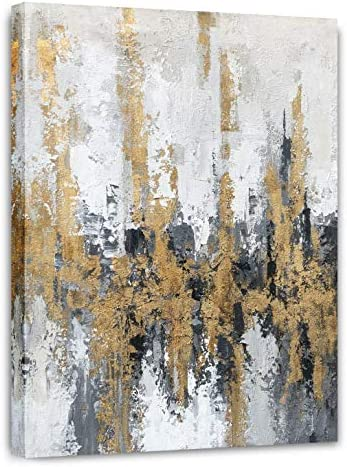 Yihui Arts Modern Abstract Skyline Canvas Wall Artwork With Gold Foil Modern Oil Painting Pictures product image