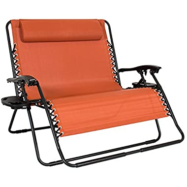 Best Choice Products 2-Person Double Wide Folding Zero Gravity Chair Patio Lounger w/Cup Holders - Terracotta Orange