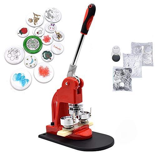 Red Button Maker Machine 58mm 2.28 inch Button Badge Maker Pins Punch Press Machine Aluminum Frame 300pcs Free Button Parts + Circle Cutter (58mm 2.28 inch)