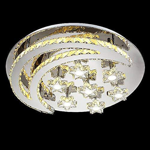 Lámpara de Techo de Cristal LED, Moderna, Redonda, para salón, Dormitorio, Vivienda, decoración de Cristal, lámpara de Acero Inoxidable, lámpara de Techo, Estrella y Luna, diseño, Weiß Licht, 65 cm