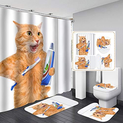 LCXNN 4 Pcs Set Duschvorhangset Duschvorleger - Anti Rutsch Badematte Toiletten-Abdeckung Matte Badteppiche,3D Gelb Kleine Katze Badezimmer Dekoration - mit 12 Haken,120x180