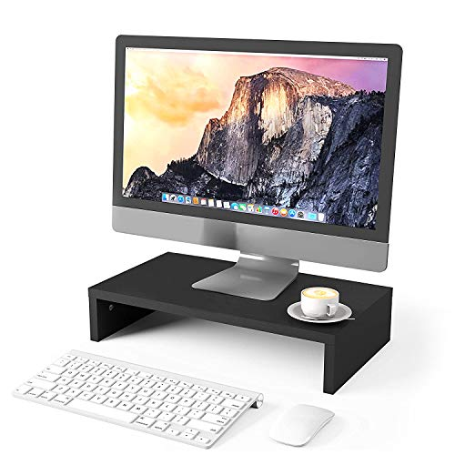 SEATZONE Monitor Stand Riser - Computer Screen Stands Desk Riser for Laptop, TV Printer, Notebook, MacBook, PC, Keyboard and Mouse Storage Desk Organizers Platforms Stands, Save Space (Black)