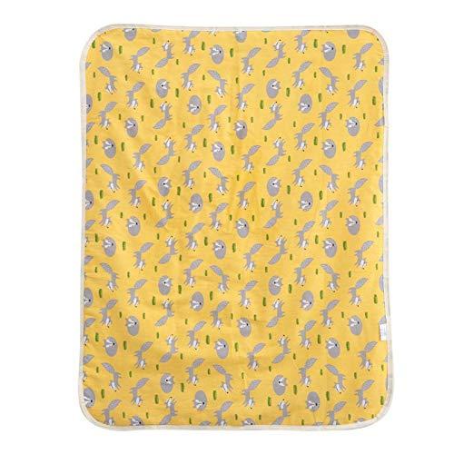 Colchoneta cambiador para niños, 60X80cm Cómoda colchoneta impermeable para cuna para cochecito(Yellow fox)
