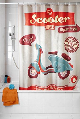 WENKO 21586100 Douchegordijn, antischimmel, vintage scooter, wasbaar, 100% polyester, meerkleurig