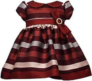 Holiday Christmas Dress - Short Sleeve Burgundy Stripe Dress for Baby Girls