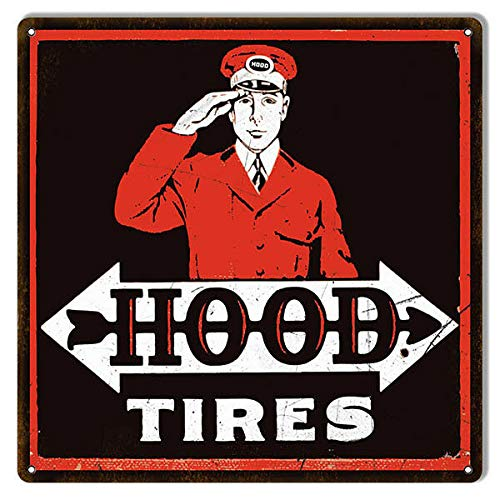 Aged Looking Black Red Hood Tires Gas Station Reproduction Sign Metal Sign Plaque 12x12 Inch