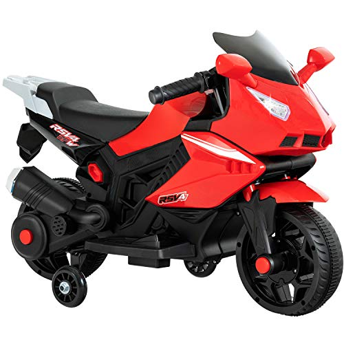 Uenjoy Kids Ride On Motorcycle 6V Electric Battery Powered Motorbike for Kids, Training Wheels, Music, Headlight, Red