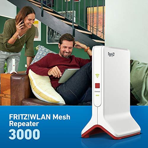 AVM FRITZ!WLAN Mesh Repeater 3000 (drei Funkeinheiten: 5 GHz (bis zu 1.733 MBit/s), 5 GHz (bis zu 866 MBit/s), 2,4 GHz (bis zu 400 MBit/s), 2x Gigabit-LAN, deutschsprachige Version)