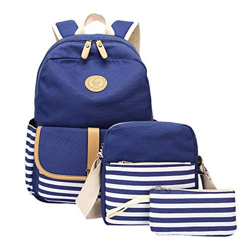 School Backpack, Aiduy Student Canvas Bookbag Lightweight Laptop Bag with Shoulder Bags and Pen Case for Teen Boys and Girls (Navy, 3pcs)