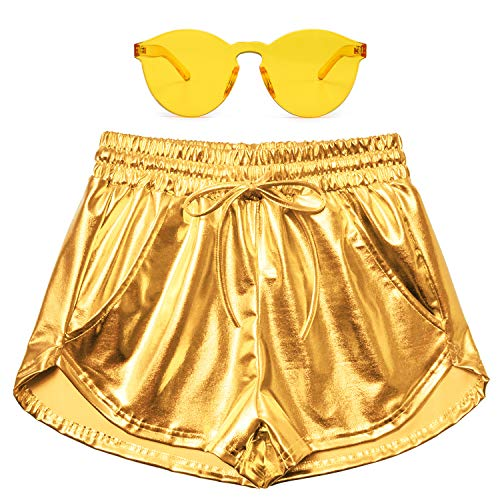 Perfashion Women's Gold Metallic Shorts Yoga Sparkly Hot Summer Drawstring Outfit Pairing with Glasses