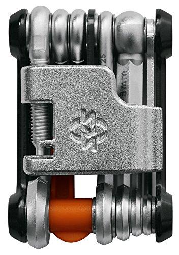 SKS GERMANY TOM 18 Mini-Tool Multifunktionswerkzeug Fahrrad mit Neoprentasche und Flaschenöffner (Miniwerkzeug Rad, aus rostfreiem Stahl/Aluminium, 18 integrierte Werkzeug-Funktionen), Schwarz/Silber