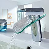 Auralum® - Grifo de cristal elegante para lavabo o bañera, para cocina o baño