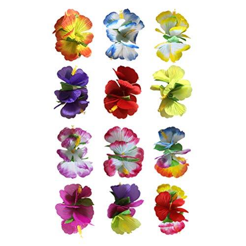 Lurrose 10 unids Flor de Hibisco Pinza de Pelo Hawaiano Artificial Floral Accesorios para el Cabello para el Festival de Boda Fiesta en la Playa